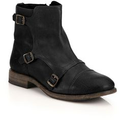 Frye Ethan Triple-Buckle Leather Ankle Boots ($395) ❤ liked on Polyvore featuring shoes, boots, ankle booties, apparel & accessories, buckle boots, frye boots, leather booties and ankle boots