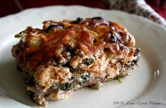 Cream Cheese Lasagna. So delicious! This one is made with sausage and uses eggplant slices to replace the noodles. #glutenfree, #lowcarb