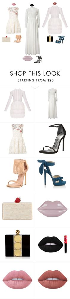 """""""One"""" by audrey-balt ❤ liked on Polyvore featuring Phase Eight, RED Valentino, Stuart Weitzman, Jimmy Choo, Edie Parker, Lulu Guinness, Halston Heritage and Lime Crime"""