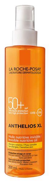 ANTHELIOS FPS 50+ Aceite Invisible Nutritivo. La piel está protegida de las quemaduras, reacciones alérgicas  y daño celular causados por los rayos UV.  La piel es nutrida, con un acabado invisible y no pegajoso.