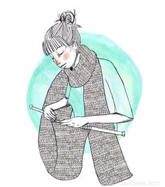 Knitting Illustration by Jen Collins Illustration Arte, Illustrations, Yarn Bombing, Knitting Humor, Knitting Yarn, Guerilla Knitting, Knit Art, Art Yarn, Sewing Art