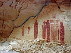 The Great Gallery in Utah's Horseshoe Canyon contains tall hollow-eyed figures in what's known as the Holy Ghost panel.