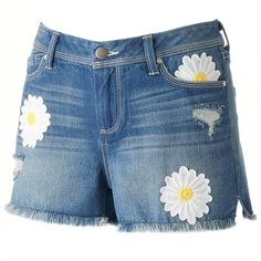 Women's LC Lauren Conrad Embroidered Daisy Jean Shorts ($26) ❤ liked on Polyvore featuring shorts, blue other, distressed denim shorts, denim shorts, ripped shorts, blue shorts and frayed denim shorts