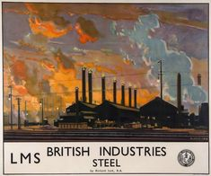 JACK, Richard RA. (1866-1952) - BRITISH INDUSTRIES, LMS, Steel lithographic poster in colours, 1924, printed by Staffords, Netherfields vintage LMS railway poster