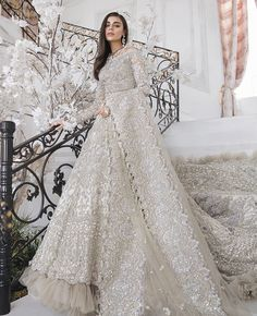 This bridal wear is one of its kind. fully studded and embellished with crystals, beads, pearls and exquisite zardosi work. Customisation available. Price is for replica as in the picture. To discuss… Asian Bridal Dresses, Pakistani Wedding Outfits, Indian Bridal Outfits, Pakistani Bridal Dresses, Pakistani Wedding Dresses, Indian Fashion Dresses, Indian Bridal Wear, Walima Dress, Lehenga Wedding