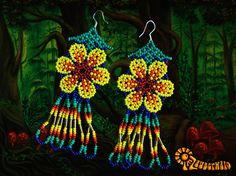 Lovely Alice - Eardrops    Seller: imzauberwald  Shop Category: Huichol Jewelry