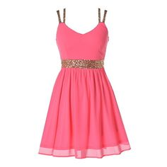 Malibu Breeze Dress found on Polyvore featuring polyvore, fashion, clothing, dresses, vestidos, short dresses, pink, sequin cocktail dresses, short sequin dress and pink sparkly dress