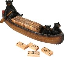 Cabin Canoe Wooden Dominoes Game Set