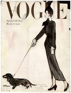 1947 Vogue, proof that dachshunds are ALWAYS in style