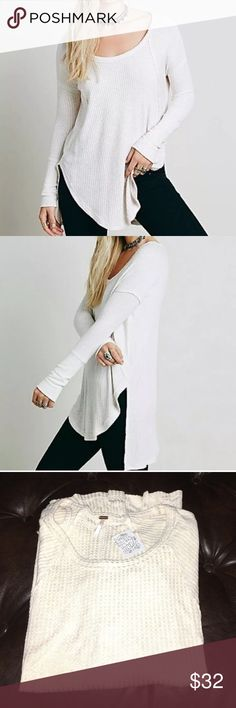 New Free People drippy Ventura thermal top Free People drippy Ventura thermal top. Size XS. Brand new with tags. Color is ivory. Super soft. 95% rayon 5% spandex. Scoop neck. Longer on back. Free People Tops Tunics