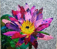 Lily torn paper collage by KarlaSchusterArt on Etsy, $30.00