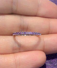 18K Amethyst Half Eternity Band Ring 1.7mm 18K White Gold Amethyst Infinity Ring…