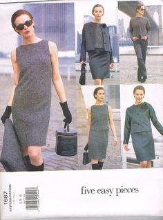 1990s A Line Dress and Jacket Vogue 1687 Skirt by JFerrariDesigns, $15.00