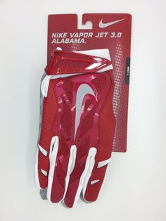 ALABAMA NIKE VAPOR JET 3.0 LOCK UP LOGO FOOTBALLGLOVES PAIR (ADULT LARGE)--NEW #Nike