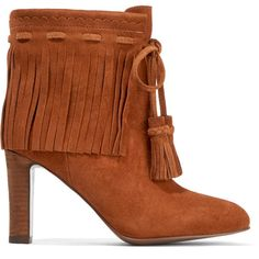 See by Chloé Fringed suede ankle boots (£330) ❤ liked on Polyvore featuring shoes, boots, ankle booties, high heel boots, high heel ankle boots, ankle boots, suede bootie and suede booties