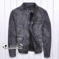 a7cb6ffb3a24ba Find More Information about Free Shipping 2015 New Men Leather Jacket Retro  Vintage Grey Stand Collar