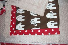 Red dot and brown minky dot elephant baby blanket