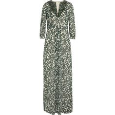 Tory Burch - Talan Printed Stretch-silk Georgette Maxi Dress ($403) ❤ liked on Polyvore featuring dresses, forest green, stretchy maxi dress, maxi dresses, stretch dress, stretchy dresses and tory burch