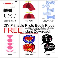 Freebies- www.amandakeyt.com DIY Photo Booth Props! Just print, cut, glue to sticks and strike a pose! Enjoy Life! Buy the app!