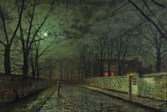 Gemälde von John Atkinson Grimshaw, Nacht, Mond, Straße, Mädchen, Haus, Zaun, Windows, Lichter, Straße Vektorgrafik