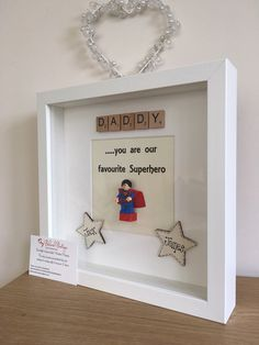 Fab Lego Father's Day frame Many Lego figures available Can be personalised with up to 2 names Any over 2 will cost Homemade Fathers Day Gifts, First Fathers Day Gifts, Diy Father's Day Gifts, Fathers Day Presents, Father's Day Diy, Nice Gifts, Dad Gifts, Happy Birthday Boyfriend, Birthday Gifts For Husband