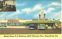 Merle's Drive-In, 2600 American Ave., Long Beach CA. American Avenue is now Long Beach Blvd.