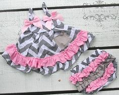 Share with your friends and receive 10% off your next purchase! Grey Chevron with Pink Swing Top Set #kemaily