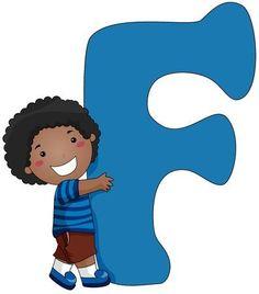 Illustration of a Little Boy Hugging a Letter F