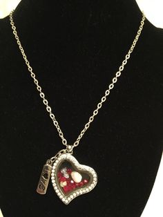 Glass Heart Locket Necklace with Swarvoski  Crystals and Mother of Pearl by BeACharm on Etsy