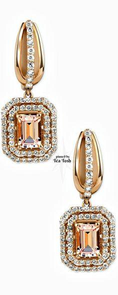 ❇Téa Tosh❇ Morganite (2 ct. t.w.) and Diamond (¾ ct. t.w.) Drop Earrings in 14K Rose Gold - Earrings