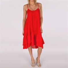Free People Womens Contemporary Crinkle Dobby Natural Habitat Dress #VonMaur #FreePeople #Ruby #Red #HighLowHem