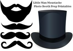 Moustache / A Little Man Baby Shower Theme - Free printable moustache photo booth props DIY Photo Booth Moustache and Beard printables via Baby shower ideas for boy or girl #babyshowerideas