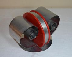 Art Deco Revere/Fred Farr Chrome Coil & Round Red Wood Center Bookends MCM | eBay
