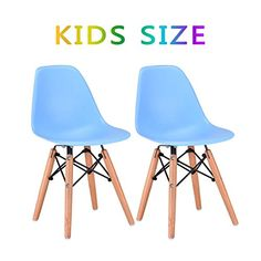 Costzon Set of 2 Kids Dining Chair, Modern Molded Shell Chair with Dowel Wood Eiffel Legs (Blue)