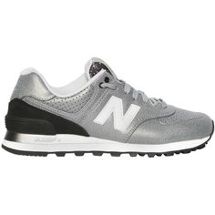 New Balance Women 574 Metallic Faux Leather Sneakers (174 AUD) ❤ liked on Polyvore featuring shoes, sneakers, silver, new balance footwear, glitter shoes, faux leather shoes, new balance and leather upper shoes