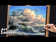 Acrylic Seascape Painting Techniques | Crashing waves and storm clouds - YouTube