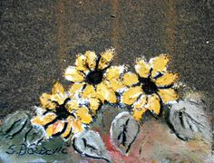"""My Sunflowers"" Miniature Oil and acrylic on tar paper.  7 x 5.5cm. #art #modernart #abstractart #contemporaryart #art #ModernArt #painting #gallery #oilpainting #sunflowers #tarpaper"