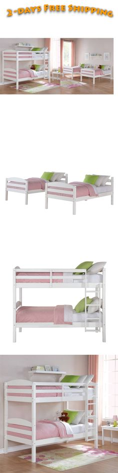 Kids Furniture: Bunk Beds Twin Over Twin Kids Furniture Bedroom Ladder Wood Convertible White BUY IT NOW ONLY: $197.54