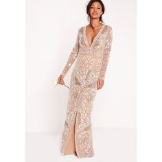 Missguided Bridal Sequin Wrap Maxi Dress ($255) ❤ liked on Polyvore featuring dresses, wedding dresses and silver