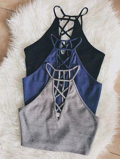 Lana Lattice Knit Crop Tank (Blue)