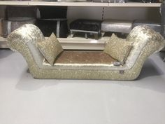 Stunning double ended chaise in Chartreuse gold velvet - gold/silver mix glitter : double ended chaise - Sectionals, Sofas & Couches