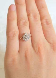 Art Nouveau Diamond Engagement Ring in 9ct Yellow and White Gold, vintage…