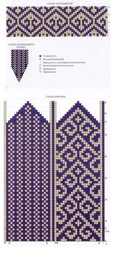 turkish pattern mittens: knitting tutorial - crafts ideas - crafts for kids Knitted Mittens Pattern, Fair Isle Knitting Patterns, Knit Mittens, Knitting Charts, Weaving Patterns, Knitted Gloves, Craft Patterns, Knitting Socks, Knitting Stitches