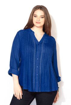 BUTTON FRONT CRINKLE TOP, Blueberry