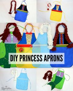 Easy DIY Princess Apron Costumes and Headbands: Ariel the Mermaid, Anna, Elsa and Snow White