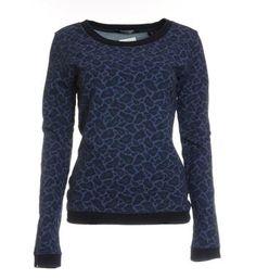 Maison Scotch sweater in een all over dessin - Blauw dessin - NummerZestien.eu