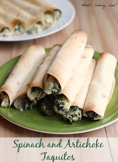 Spinach and Artichoke Taquitos. A great dinner or appetizer that combines taquitos with the tastes of cheesy and creamy spinach and artichoke dip. #dinner #taquito #spinach #artichoke