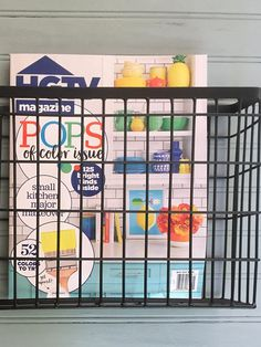 This is a metal, wire, magazine rack that hangs on the wall. It has been painted black. This can be painted any color. This will add a great rustic or industrial touch to your decor. This basket is very easy to hang with 2 rings attached for screws/nails. Matching screws are