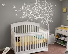 All White nursery tree decals Unisex Multicolored Large nursery tree decals with birds White tree decals Wall tattoos 032 (84.00 USD) by KatieWallDesigns