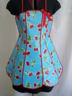 Retro Oilcloth Full Apron Classic Panel Apron Cherry by torrana, $35.00